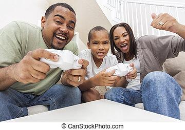コンソール, 家族, ゲーム, 遊び, アメリカ人, コンピュータ, アフリカ, 楽しみ, 持つこと