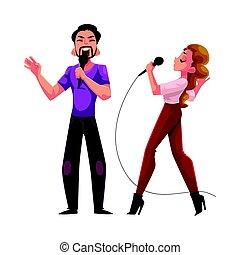 コンテスト, 恋人, 競争, 一緒に, 女, 歌うこと, カラオケ, パーティー, 人