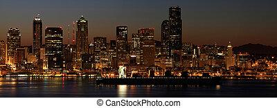 コンテナ船, 上に, puget 音, シアトル, ワシントン