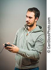 コントローラー, ゲーム, ビデオ, 若者