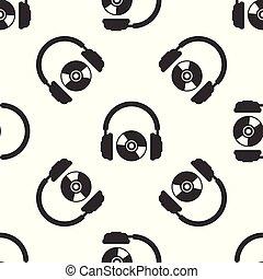 コンパクト・ディスク, イヤホーン, dvd, 印。, ヘッドホン, 隔離された, イラスト, 灰色, バックグラウンド。, ベクトル, seamless, パターン, 白, cd, ∥あるいは∥, シンボル。, アイコン