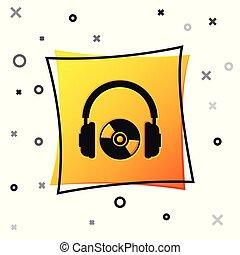 コンパクト, 広場, イヤホーン, dvd, 印。, ヘッドホン, 隔離された, 黄色, cd, バックグラウンド。, button., 黒, イラスト, 白, ディスク, ベクトル, ∥あるいは∥, シンボル。, アイコン