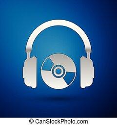 コンパクト, 青, ∥あるいは∥, イヤホーン, dvd, 印。, ヘッドホン, 隔離された, イラスト, cd, バックグラウンド。, ベクトル, ディスク, 銀, シンボル。, アイコン