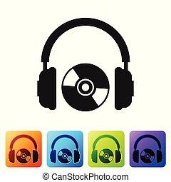 コンパクト, buttons., 広場, イヤホーン, 色, dvd, 印。, ヘッドホン, 隔離された, イラスト, cd, バックグラウンド。, セット, 黒, 白, ディスク, ベクトル, ∥あるいは∥, シンボル。, アイコン