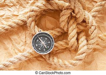 コンパス, そして, ロープ, 中に, 旅行, そして, 冒険, 概念