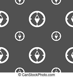 コンパス, 印, icon., windrose, ナビゲーション, シンボル。, seamless, パターン, 上に, a, 灰色, バックグラウンド。, ベクトル