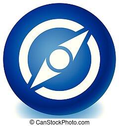 コンパス, 概念, ナビゲーション, シンボル。, 指導, アイコン, 検証