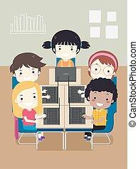 コンピュータクラス, イラスト, 子供, ラップトップ