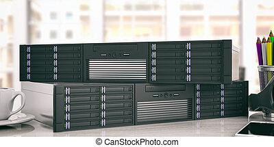 コンピュータサーバー, 貯蔵, ユニット, 上に, オフィス, バックグラウンド。, 3d, イラスト