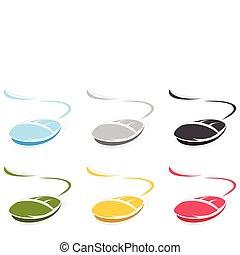 ∥, コンピュータマウス, の, 青, colour., a, ベクトル, イラスト