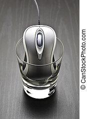 コンピュータマウス, 中に, a, ガラス