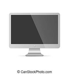 コンピュータモニター, isolated., イラスト, ベクトル, ディスプレイ