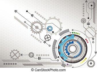 コンピュータ回路, ビジネス, 抽象的, イラスト, 高く, ベクトル, 背景, 技術, 未来派