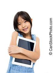 コンピュータ, アジア人, タブレット, 子供