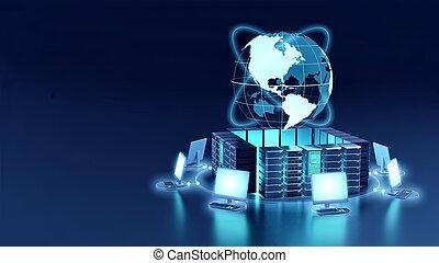 コンピュータ, インターネット, 概念, ネットワーク