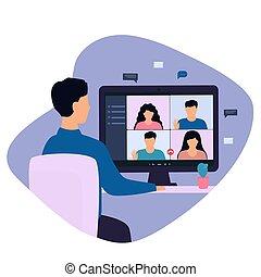 コンピュータ, オンラインで, リモート, 持つこと, 椅子, 人, 前部, 呼出し, ビデオ, 机, モデル, monitor., 彼の, home., 協力者, 仕事, 人