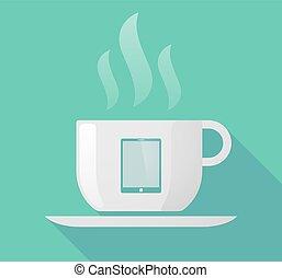 コンピュータ, カップ, 長い間, コーヒー, 影, タブレット