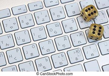 コンピュータ, ギャンブル, さいの目に切る, キーボード, クローズアップ
