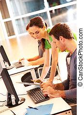 コンピュータ, グループ, 若い, 働いている人達