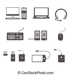 コンピュータ, セット, アイコン