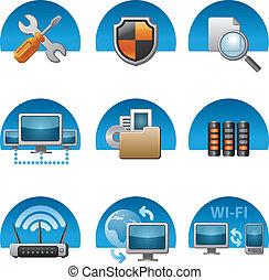コンピュータ, セット, ネットワーク, アイコン