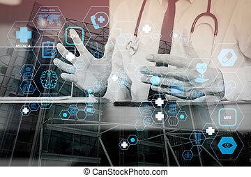 コンピュータ, タブレット, 仕事, 医者, 医学, 現代, 電話, 木, 聴診器, デジタル, 机, オフィス, 痛みなさい