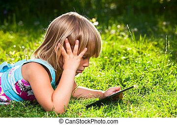 コンピュータ, タブレット, 屋外, 子供