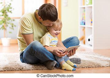 コンピュータ, タブレット, 息子, 屋内, お父さん, 遊び, 子供