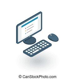 コンピュータ, ベクトル, icon., 平ら, 等大, デスクトップ, 3d