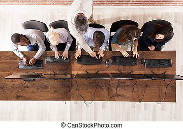 コンピュータ, マレ, 部屋, 学生, 教師