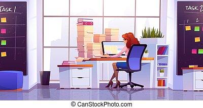 コンピュータ, モデル, 机, オフィスの 仕事, 女