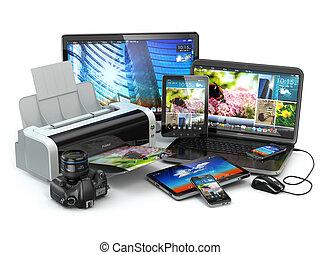 コンピュータ, モビール, ラップトップ, プリンター, カメラ付き携帯電話, tabl, devices.