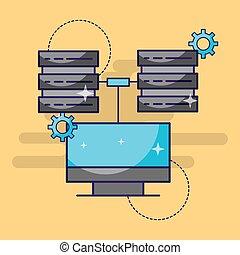 コンピュータ, 中心, データ, サーバー, 設定, 技術