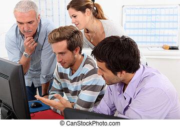 コンピュータ, 人々, グループ, ラウンド, モデル
