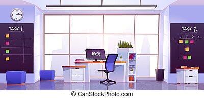 コンピュータ, 仕事場, テーブル, オフィスの内部