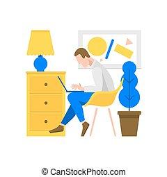 コンピュータ, 仕事, イラスト, 人