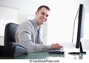 コンピュータ, 仕事, 彼の, ビジネスマン