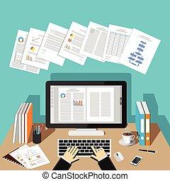 コンピュータ, 仕事, 机