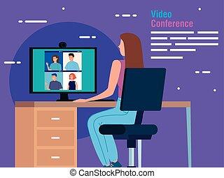コンピュータ, 会議, 女, ビデオ