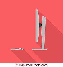 コンピュータ, 側, デスクトップ, 光景