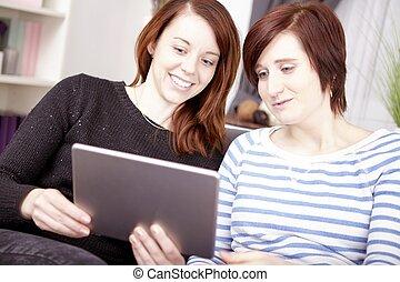 コンピュータ, 女の子, 2, タブレット, 若い