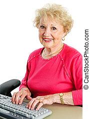 コンピュータ, 女性, シニア, デスクトップ, 使うこと