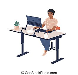 コンピュータ, 平ら, 皮膚, モデル, furnituring, 従業員, 隔離された, ベクトル, オフィス, 現代, illustration., 女性, 現代, 仕事場, 調節可能, white., 仕事, 人間工学的, 黒, 微笑の 女性, うれしい