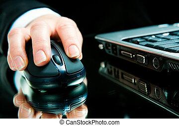 コンピュータ, 手, マウス, 上に