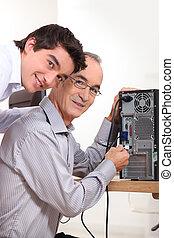 コンピュータ, 接続, 孫, 祖父