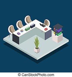 コンピュータ, 本, 隔離された, illustration., 部屋, laptops., 概念, 大学, 内部, 背景, 部屋, ミーティング, 青, 等大, classroom., 公衆, ベクトル, 現代, 3d, 色, 図書館, 机, オフィス