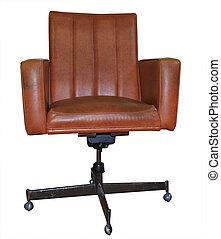 コンピュータ, 椅子, 革
