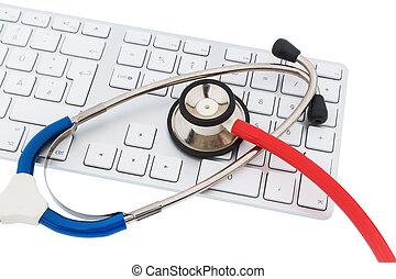 コンピュータ, 聴診器, キーボード