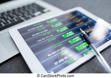 コンピュータ, 財政, チャート, タブレット