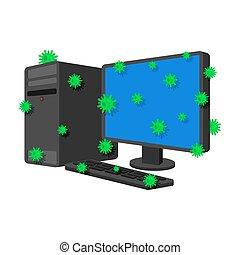 コンピュータ, isolated., 病気, 病気, 伝染, style., pc, ウイルス, ベクトル, infected, 病気, 漫画, データプロセッサ